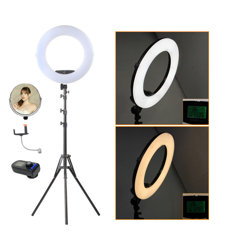 Fusitu FE-480II Photographic Lighting 96W 480Led Bi-Color Dimmable Camera Phone Photography Ring Light Lamp Remote Mirror with T touchstone teacher s edition 4 with audio cd