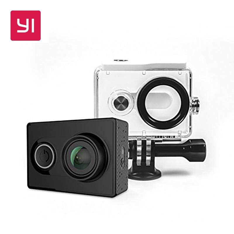 YI 1080 p acción cámara con estuche impermeable paquete Mini cámara del deporte de alta resolución WiFi y Bluetooth negro blanco
