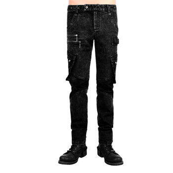 Punk Men Washed Old Trousers Bag Leather Black Cotton Long Pants Gothic Loose Causal Jeans with Pockets