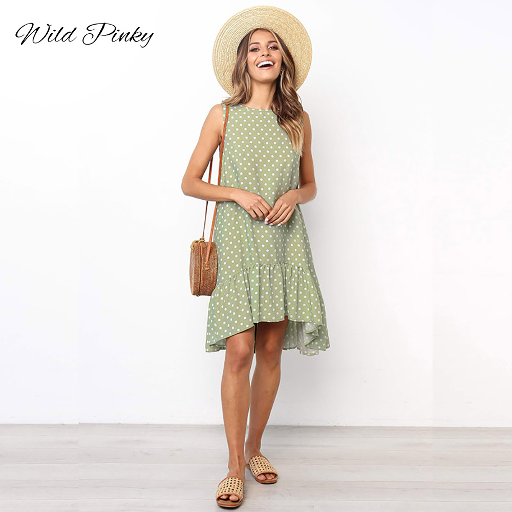 Wild Pinky Vintage Casual Sundress Female Beach Dress Polka Dot Striped Women Dress Summer 2020 Boho Sexy Dress Irregular hem