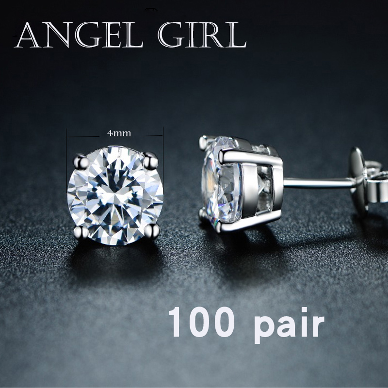 AngelGirl American market small special wholesale rapid logistics 8/6/4 CZ stud earring with White Gold Color for Woman Jewelry