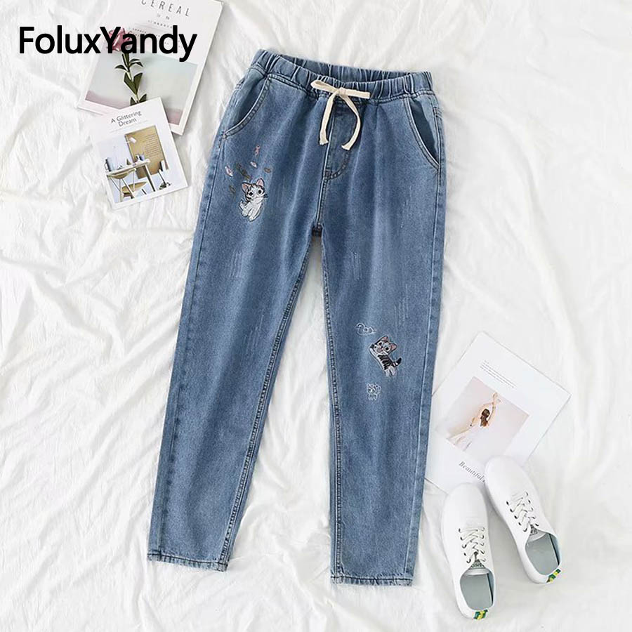 Cute Cartoon Embroidery   Jeans   Women Casual Denim Pencil Pants Blue Elastic Waist Loose   Jeans   Plus Size 5XL 6XL KKFY2582