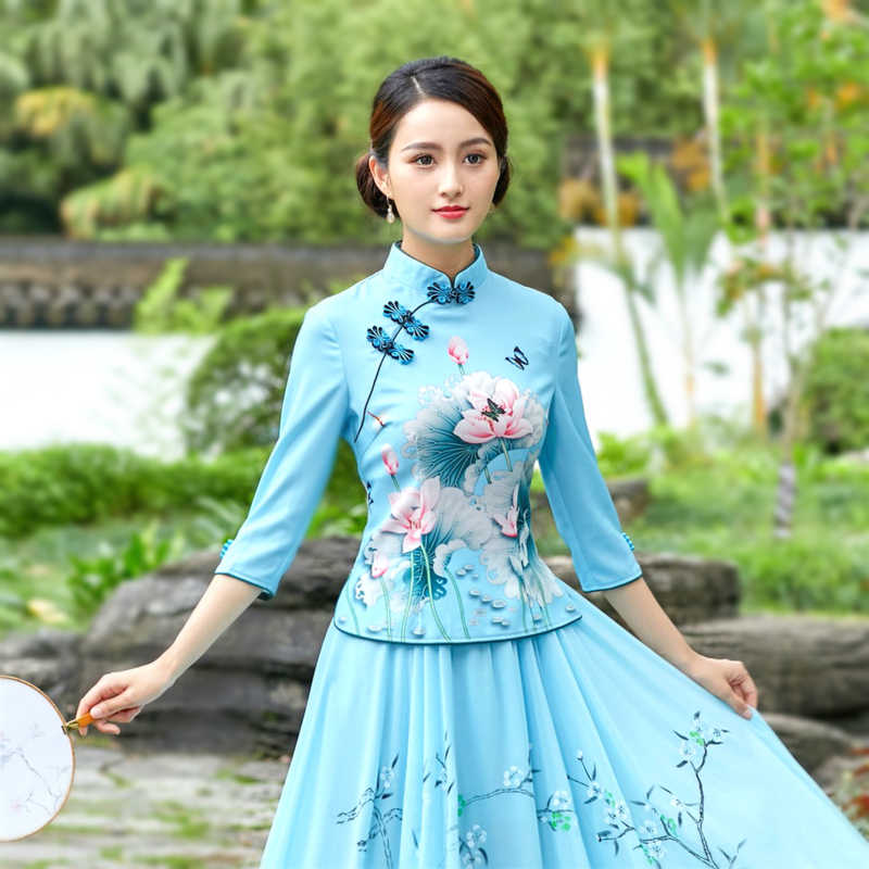 Sheng Coco 4XL Plus Size Vrouw Chinese Traditionele Kleding Elegante Shirts Oude Chinese Cheongsam Qipao Blouse Tops Blauw
