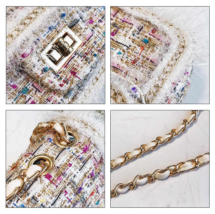 ... FEMALEE Elegant Chains Women bag 2019 Checkered Tweed handbag Sweet  Girls Woolen Satchel bag Pearl Shoulder ... 04e41f38774d