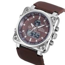 Mode Hommes de Mouvement Montre-Bracelet Carré Cadran Analogique Numérique Quartz Montre Sport Business Montres PU en cuir Horloge Cadeau LL