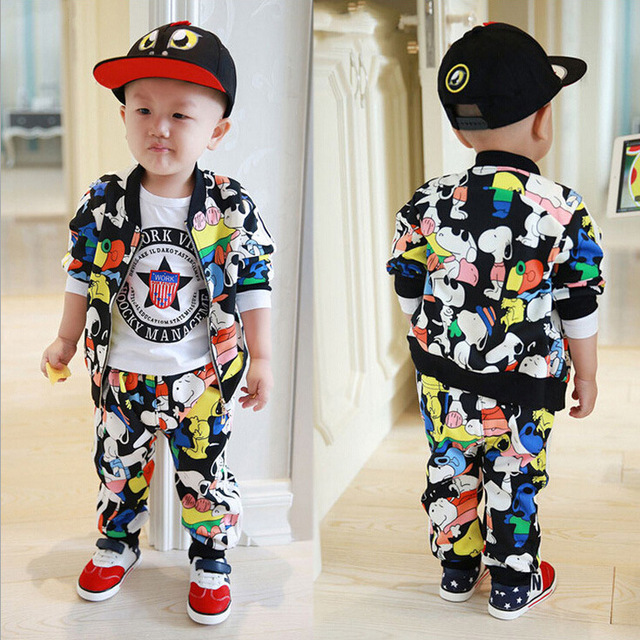 2016 New Children Kids Boys Clothing Set Autumn Winter  2 Pcs Sets  Coat Suits Fall +pants Cotton Baby Boys Girls Clothes set