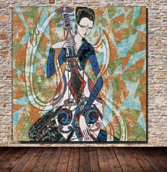 100% Kwaliteit P-303 Gratis Verzending Folk Art 100% Hand Geschilderd Op Canvas Mooi Olieverf Goede Voor Bed Kamer (geen Frame) Tuur 100% Garantie