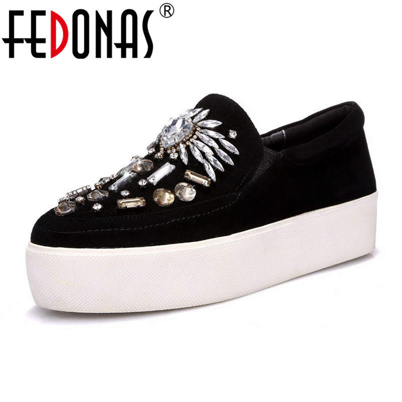 FEDONAS Fashion Women Flats Platforms Suede Leather Casual Sneakers Round Toe Rhinestone Decoration Spring Autumn Shoes Woman asumer white spring autumn women shoes round toe ladies genuine leather flats shoes casual sneakers single shoes