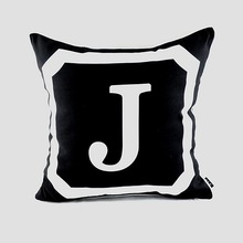 45*45 cm Decorativo Throw Pillow Cojín Funda Negro Con Monograma de la Letra Inicial para Regalos de Boda, 26 Letras Mayúsculas