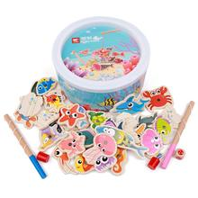 Wooden Kids Puzzles Board Magnetic Fishing Games Set with 20 Ocean Animals and 2 Poles