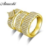 AINUOSHI Настоящее 10 к золото трио кольца набор обручальные кольца 10 к желтое золото пара обручальные кольца большая волна дизайн сборные Кольц