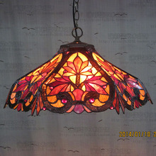 16inch Tiffany Red maple leaf Stained Glass Suspended Luminaire E27 110-240V  Pendant lights for Home Parlor Dining bed Room
