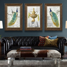 цена на HAOCHU Wall Art And Poster Nordic American Fairy Tales Peacock Animal Home Mural Oil Painting Canvas Print Decorative Picture