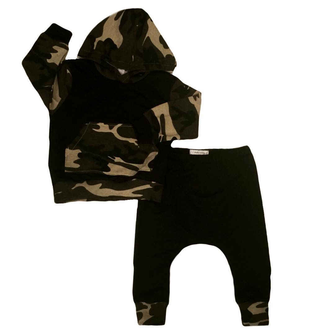 Toddler Infantil Newborn Camouflage Baby Boys Long Sleeve Hooded Tops +Pants 2PCS Outfits Set Clothes Casual