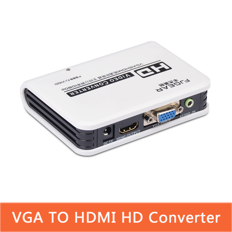 VGA To Hdmi Video Converter With HDTV Converter Box Adapter With Cable For PC Laptop To HDTV Projector With Adapt FJ-VH001