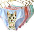 2016 Fashion Underwear Women Hot Sale Cotton Panties 3D Printed Cat Briefs Underwear for Gift Lingerie Intimates#CM