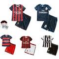 Muchachas de los muchachos camisa de fútbol de los niños juegos de los deportes de verano delgadas de párrafo transpirable traje de entrenamiento elemental 2-8years