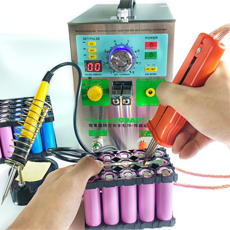 709AD+ battery spot welder machine 4in1 fixed pulse moving pulse spot welding induction automatic pulse spot welding solder iron high power 709ad battery spot welding machine pulse display automatic cooling system with soldering iron