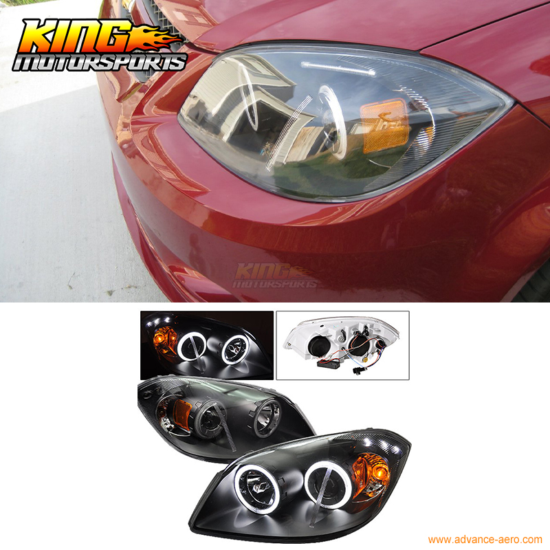 For 2005-2010 Chevy Cobalt CCFL Halo Projector Headlights Black USA Domestic Free Shipping