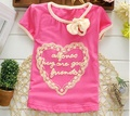 On Sale 2016 Summer new baby girls clothes cotton with heart letter print girl t shirt  A236