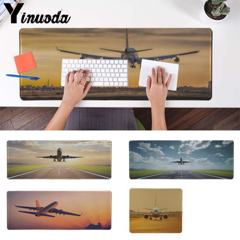 Yinuoda  Plane Airplane Flying At Sunset High Speed New Mousepad Size For 30x90cm And 40x90cm Gaming Mousepads