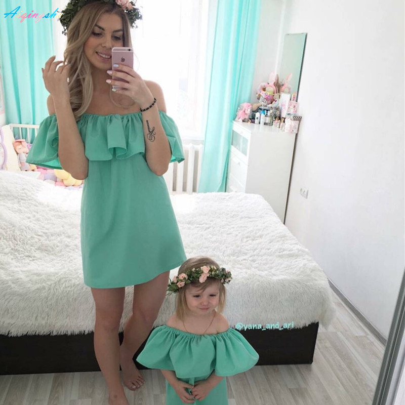 ac1b88678bdcb US $5.03 16% OFF|Family Matching Outfits Clothes Mum Mom and Daughter Dress  Mother Daughter Dresses Summer Mommy Bebes Wedding Clothing Ruffles-in ...