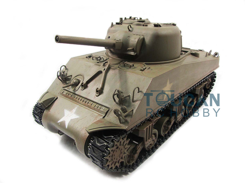100% Metal Mato 1/16 M4A3 Sherman RC Tank RTR Infrared Recoil Army Green 1230 TH00673