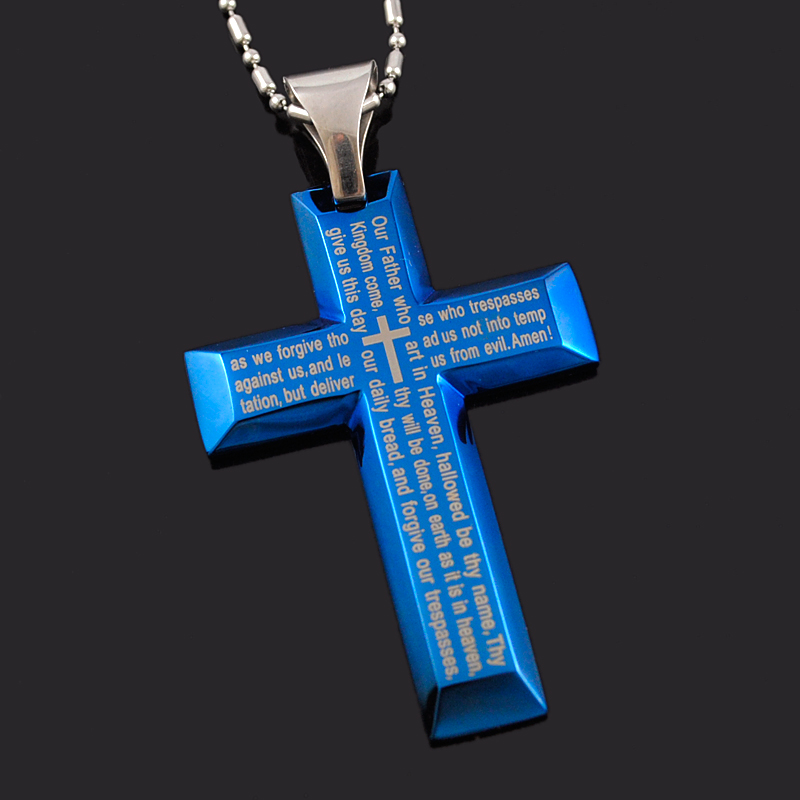 Fashion Simple English Bible Scripture Blue Stainless Steel s
