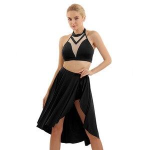 Image 5 - Top corto de baile lírico asimétrico para mujer, con pantalones cortos incorporados, trajes de falda con cuello Halter y espalda descubierta, conjunto de baile para baile de graduación
