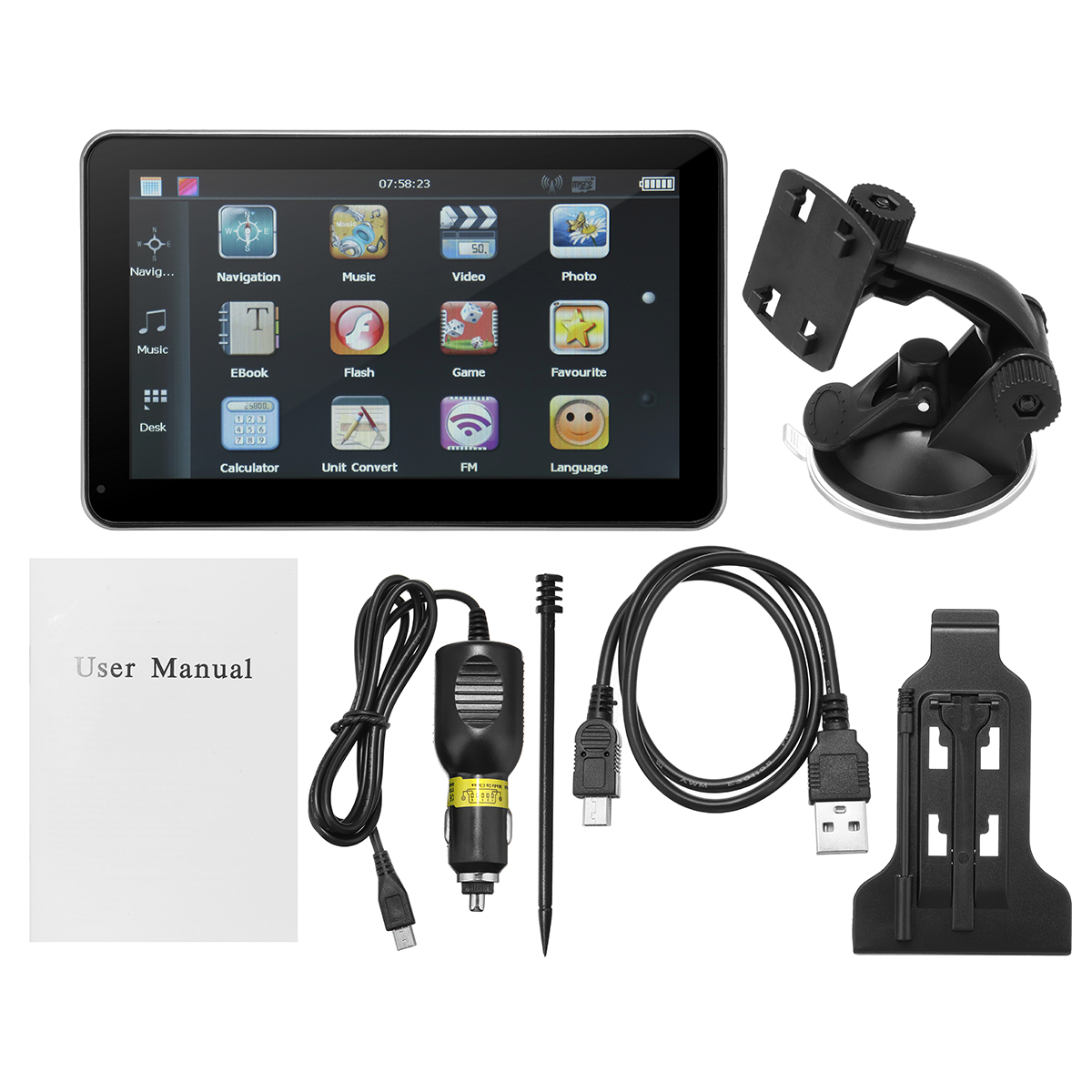 KROAK A Set 7 Inch Screen Car Auto GPS Navigation USB Port MMC Slot Rechargeable E-book Video Audio FM Mp3 Player a gauge 7 inch lcd at070tn94 highlight navigation screen screen