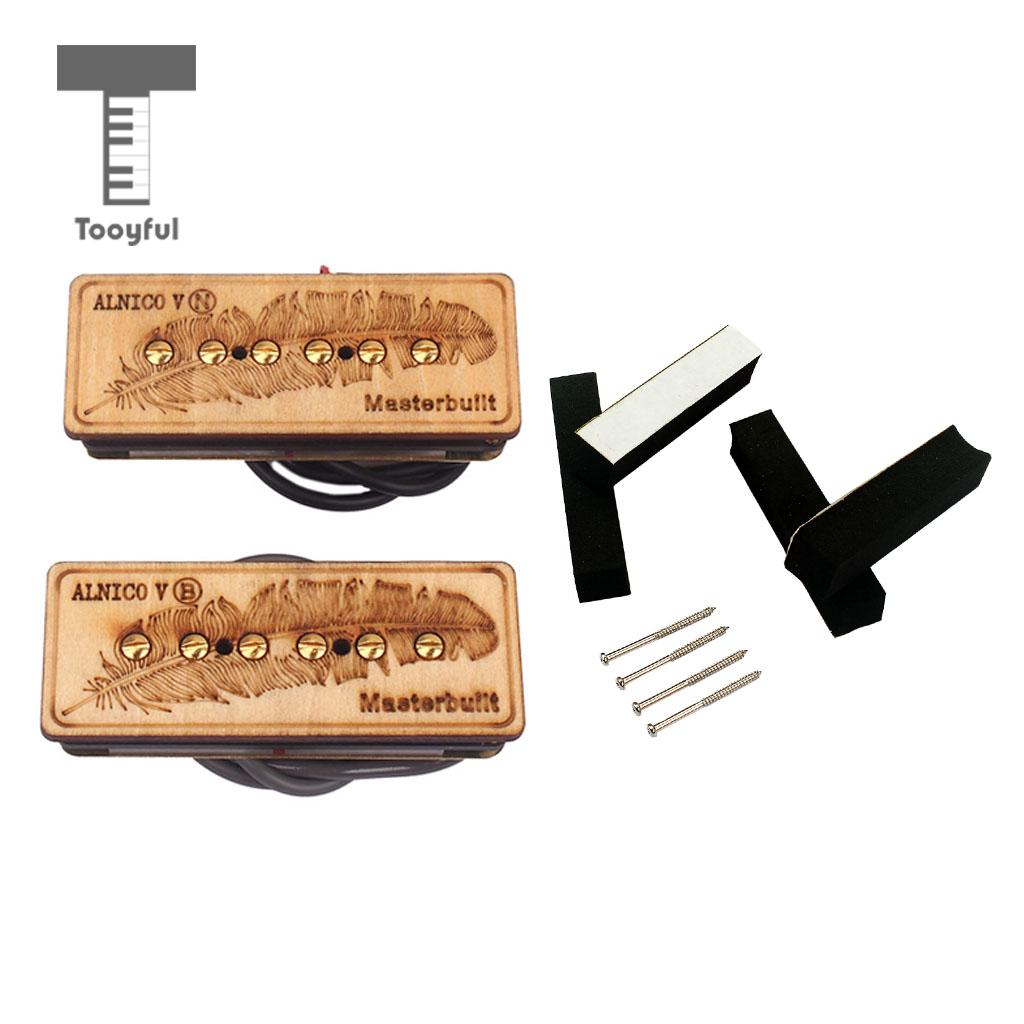 Set of 2 Maple Alnico V Feather Pattern Guitar Soapbar Pickup Neck/Bridge for Electric Guitar Parts 50mm, 52mm kmise single coil pickup for electric guitar parts accessories bridge neck set black with chrome gold frame