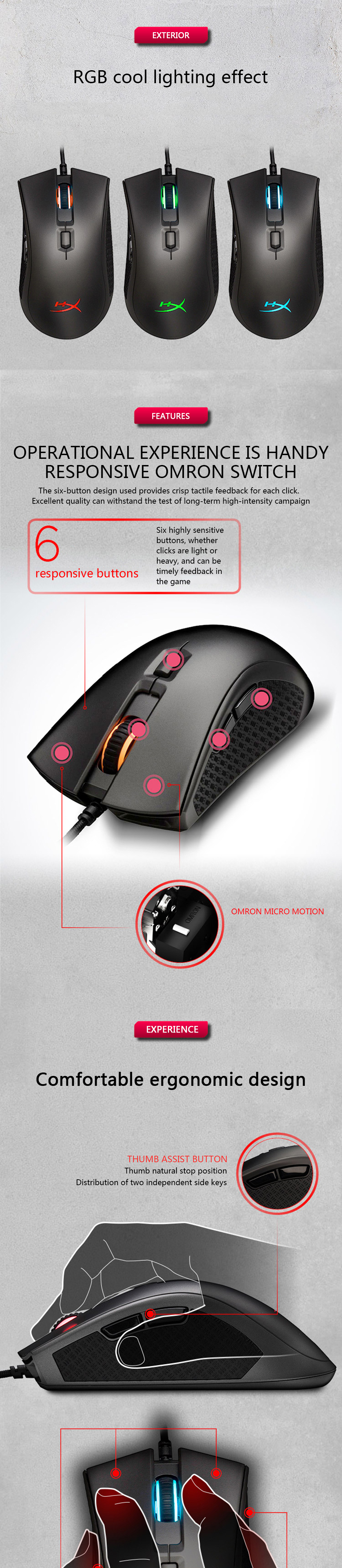 Kingston E-sports mouse HyperX Pulsefire FPS Pro RGB profession Gaming Mouse DPI up to 16000 Pixart 3389 sensor wired mouse