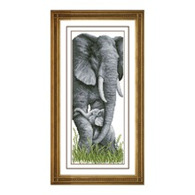 Elephant Mother with Baby Elephants Stamped Cross Stitch Kit