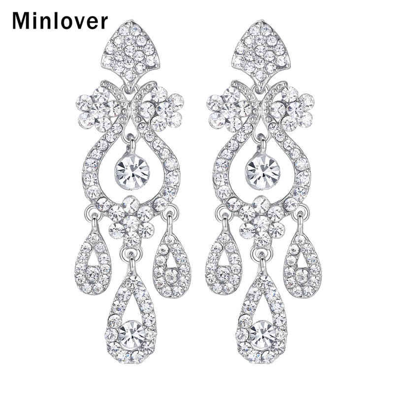 Us 3 72 25 Off Minlover Crystal Chandelier Long Drop Earrings For Silver Color Teardrop Rhinestone Bridal Dangle Wedding Jewelry Eh001 In