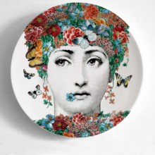 European MILAN Style Goregous Rare Fornasetti Plates Lina Lightbulb Face Piero Wall Hanging Decorative 8 Inch Dish