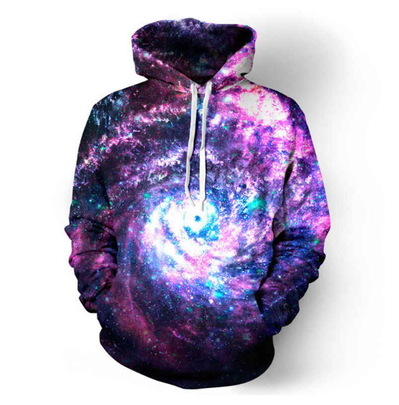 2017 New Hipster worm hole galaxy unisex print 3d hoodies punk Women Men Sweatshirts Hoodies Outfits Casual Sweats