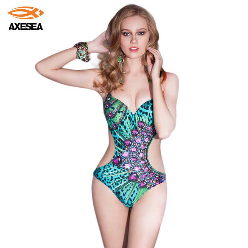 AXESEA Super Sexy Monokini une pièce maillots de bain femmes maillot de bain strass vert maillot de bain Push Up brésilien dos nu maillots de bain