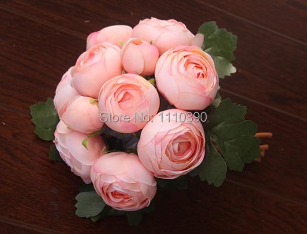 24CM Artificial Flowers Bouquet Silk Roses Bouquet Flower