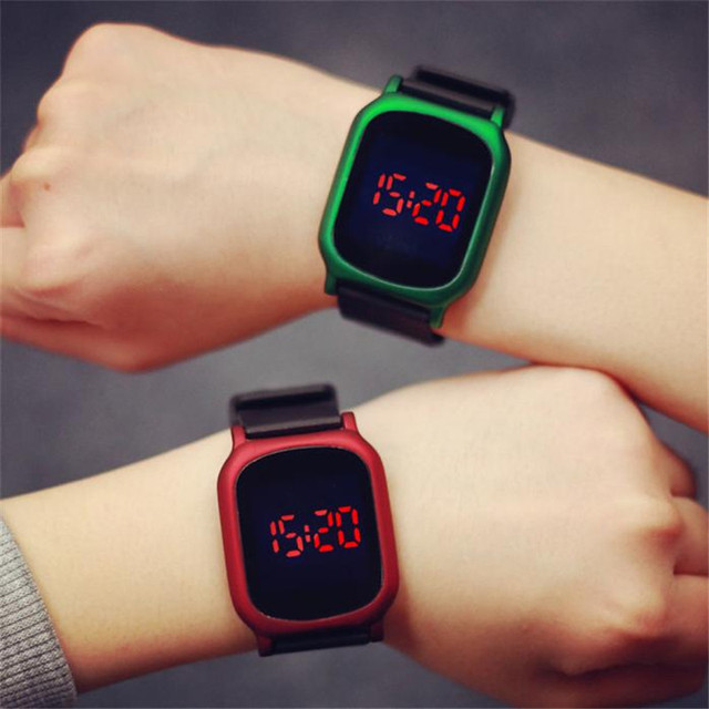 9 & cheap Fashion Boy Mens Womens Digital Red LED Silicone LED Sport Wrist Watch