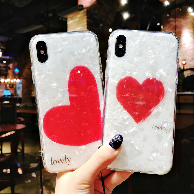 Simple red heart shell for Apple iphone x phone shell iPhone7plus/8/6s protective cover Smooth shell pattern Girl style