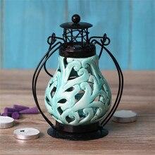 European Garden Ceramic Iron Lantern Candle Lantern kerosene lamp Home Furnishing decoration creative Candle Holders Candlestick
