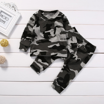 2pcs  new baby clothing set Toddler Infant Camouflage  Baby Boy Girl Clothes T-shirt Tops+Pants Outfits Set 1