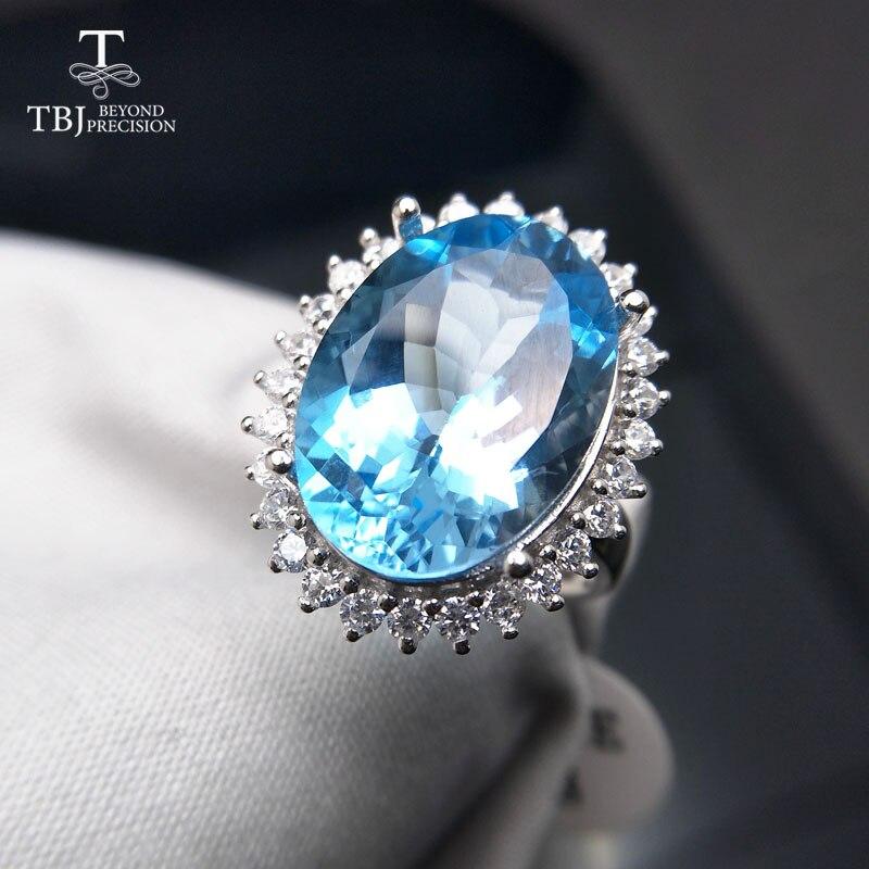 TBJ, bague Diana avec 14ct de topaze bleue ciel naturelle en argent 925, bague classique et élégante pour les femmes comme cadeau d'anniversaire