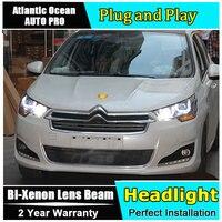 Car Styling For Citroen C4 headlights 2013 2016 C4 led headlight C4 drl projector headlights HID KIT LED Bi Xenon Lens low beam