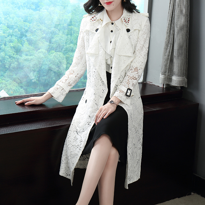 Solid lace adjustable waist long   trench   coats 2018 new full sleeve turn down collar slim women autumn   trench   coats