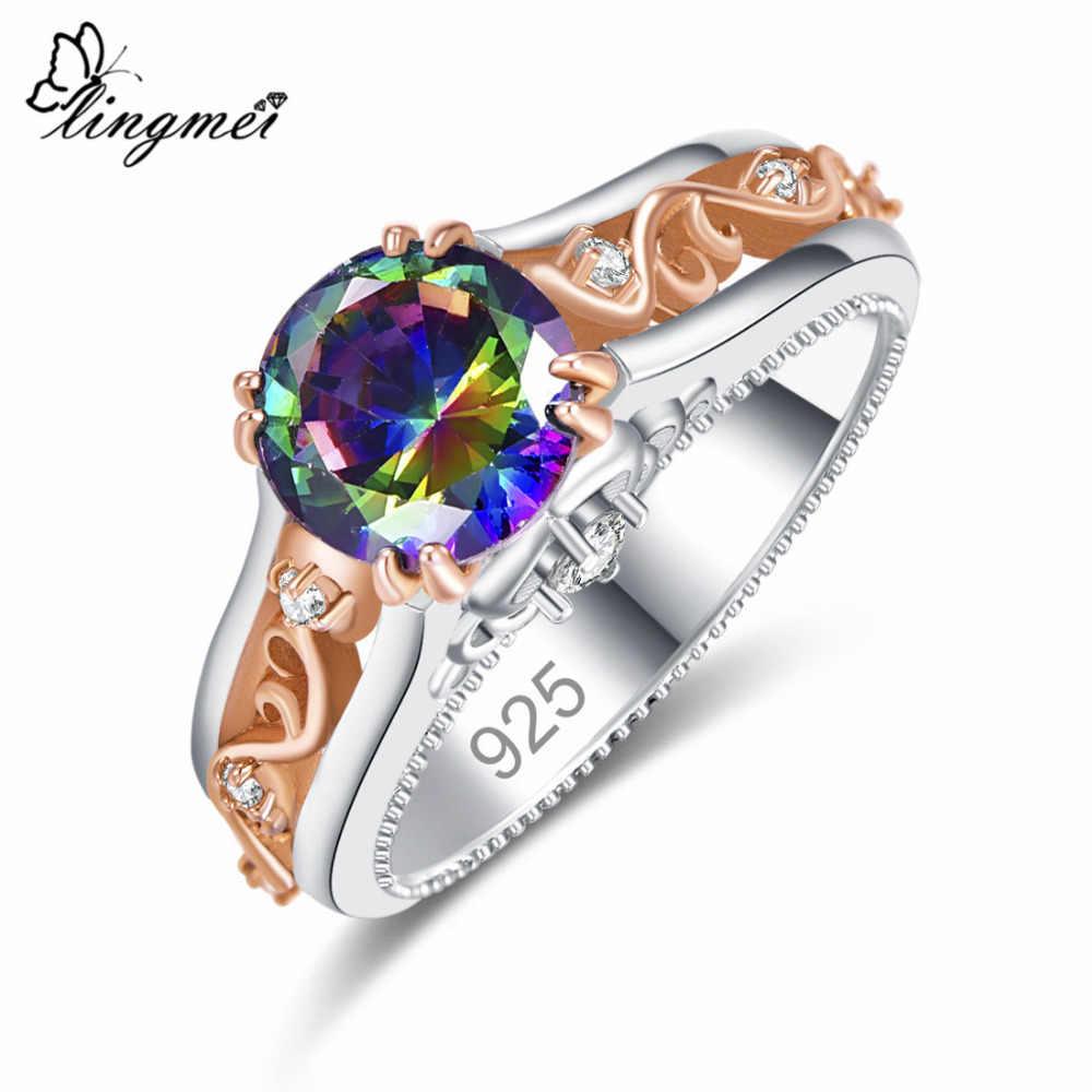 Lingmei แฟชั่นขายส่งแหวนหมั้นตัด Multicolor & White Cubic Zircon Silver & Gold สีผู้หญิงขนาดแหวน 6789