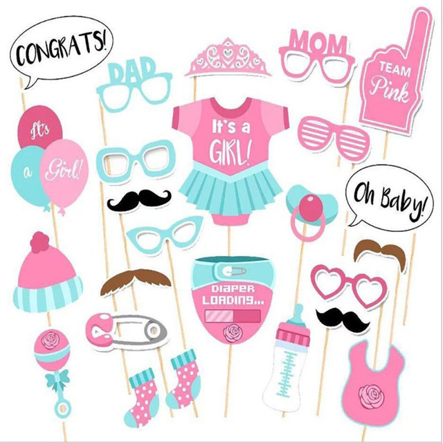HOT 25 stks/set Meisje Photo Booth Props Baby Shower Roze Doop Verjaardag Decoratie DIY Party PhotoBooth Levert-6
