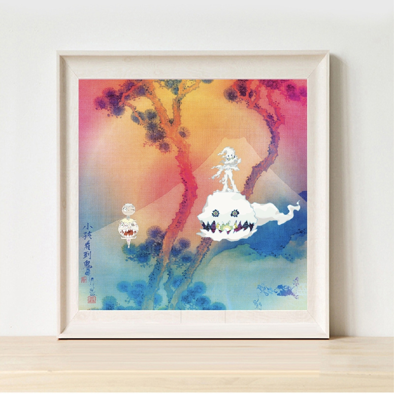 Kanye West & Kid Cudi Print Kids See Ghosts Rap Album Music Cover Poster Canvas Painting Hip Hop Home Room Wall Art Decor image
