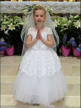 New Coming White Lace Tulle Flower Girl Dress For Wedding Lace Up Back Girls Evening Dresses First Communion Gowns Custom Made