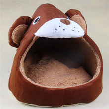Cute Home Pet Dog Cat Bed Bear Shape Warm Soft Kennel Cat Dog House Pet Sleeping Short Pile Material Removable Breathable S M L(China)